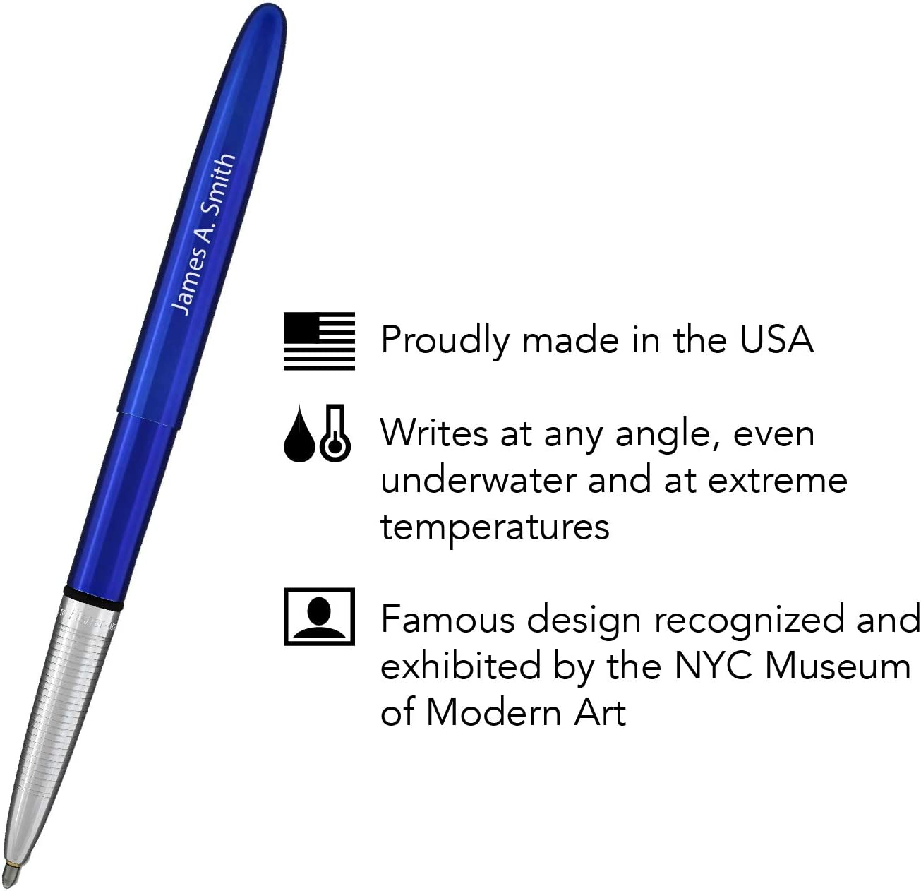 1 Personalized//Engraved Blueberry Blue Fisher Bullet Space Ballpoint Pen 400BB