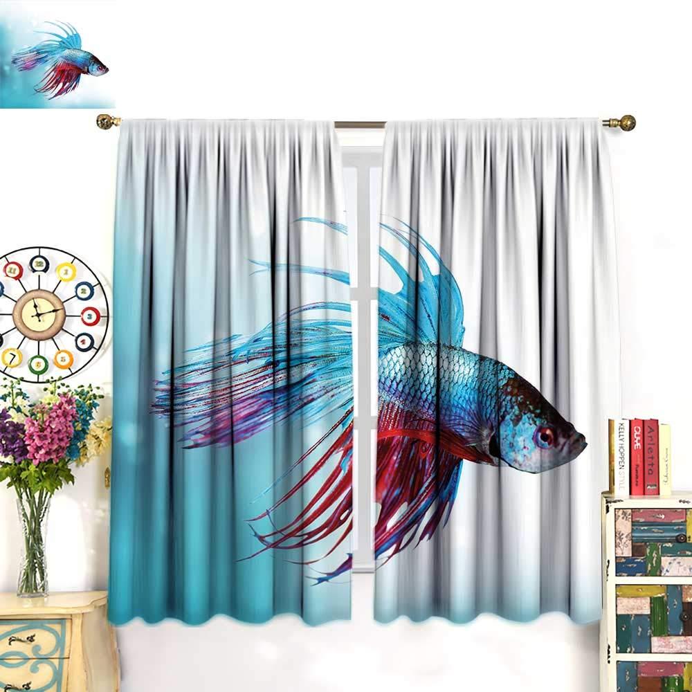 color17 W55\ color17 W55\ Aquarium Decor Curtains by Siamese Fighting Betta Fish Swimming in Aquarium Aggressive Sea AnimalBlackout curtainSky bluee Dark Coral. W55 x L63