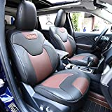 Kust zd31941w Car seat Covers,Custom Fit Seat Covers Fit for Jeep Cherokee 2014 2015 2016 2017,Pack of Leather Auto Seat Covers for SUV Full Set 4pcs Saddle Cover,4pcs Back Cover,5pcs Headrest Cover