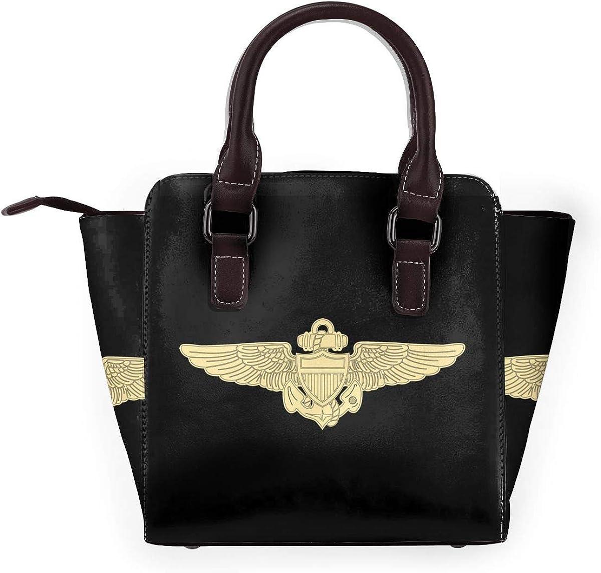 Taco-Bell - Borsa a tracolla da donna, in vera pelle, con rivetto Ali Da Aviatore Navale.