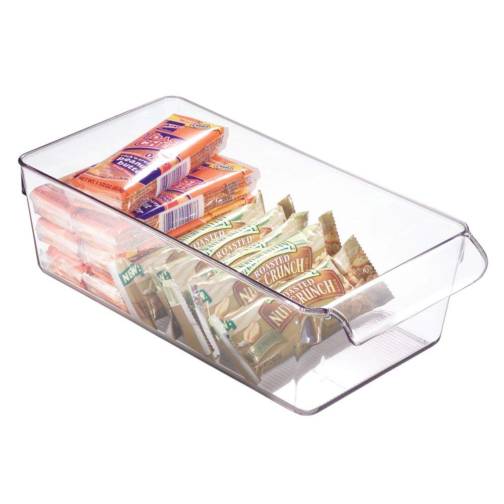 "iDesign Linus Plastic Fridge and Freezer Storage Organizer Bin with Handle, Clear Container for Food, Drinks, Produce Organization, BPA-Free , 11.5"" x 6"" x 3.5"", Clear"