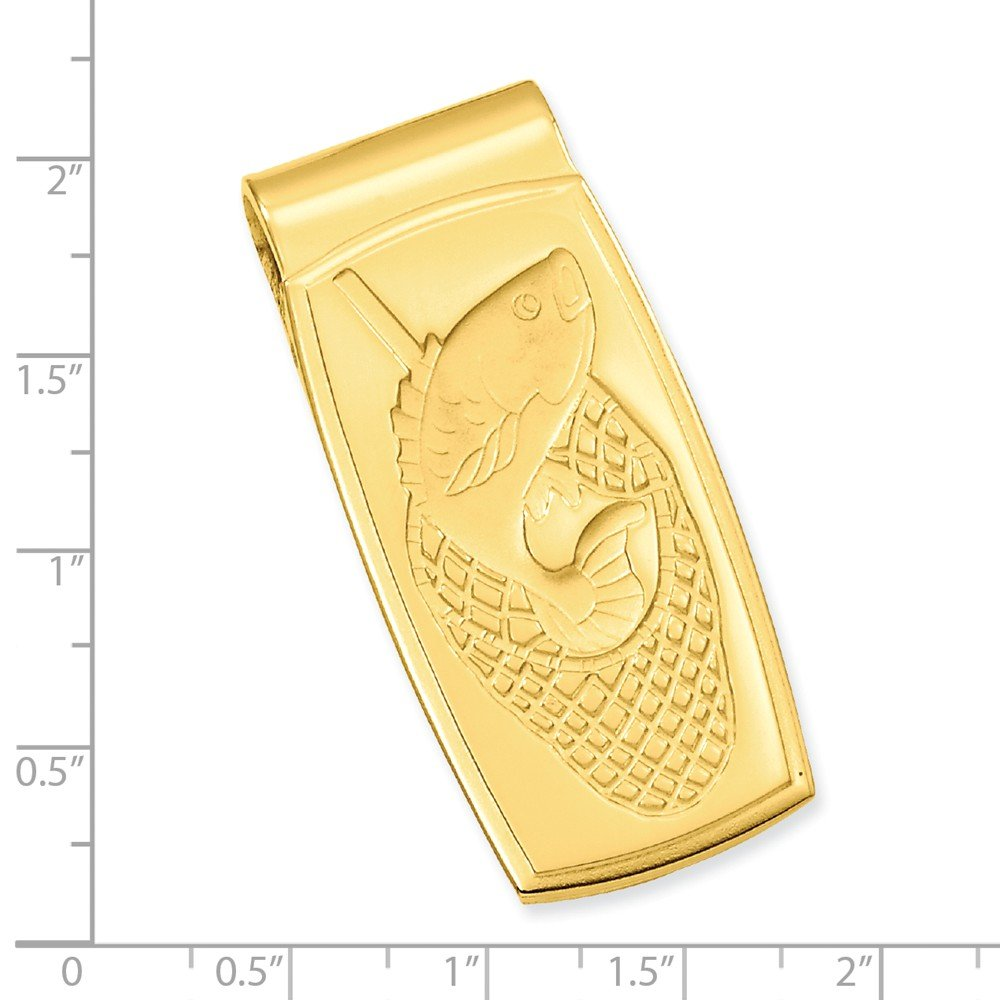 Length: 23 mm|Width: 47mm Diamond2Deal Gold-Plated Kelly Waters Fish in Net Hinged Money Clip