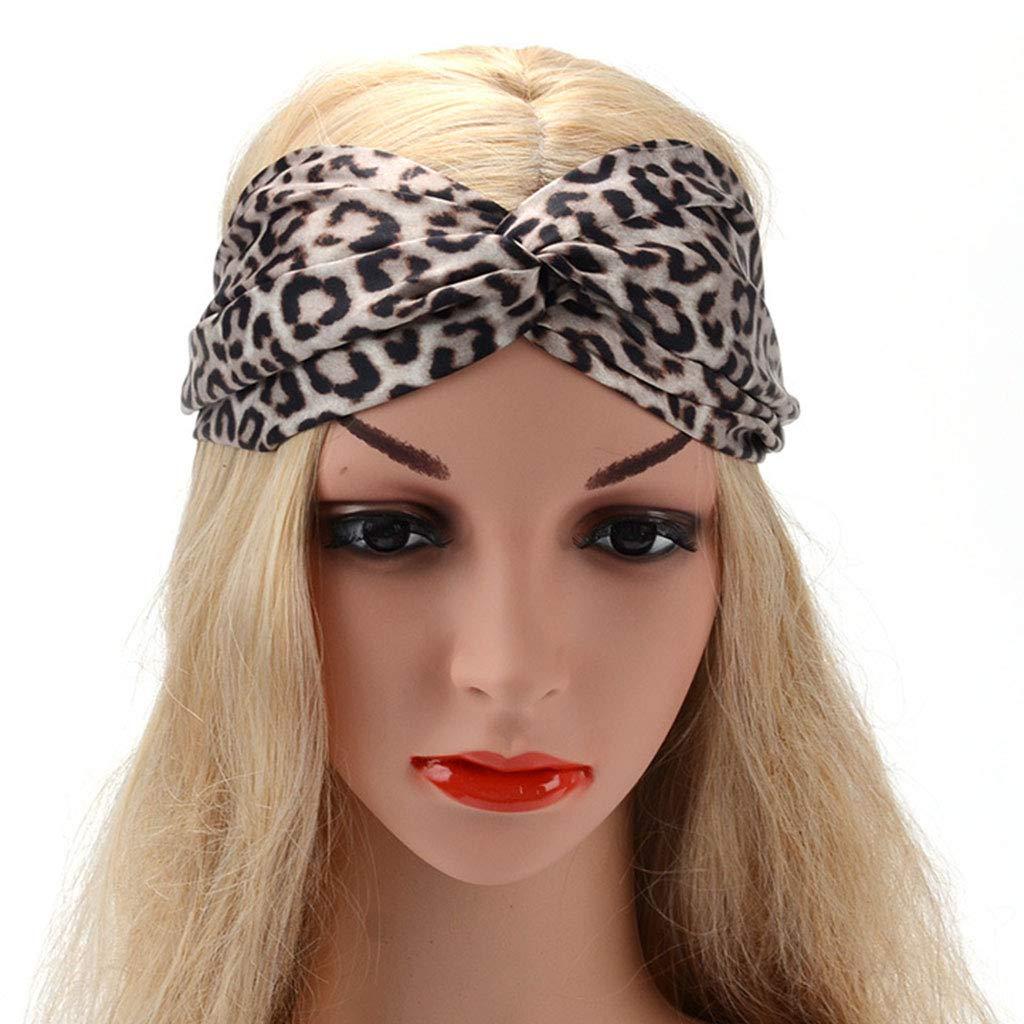 Damen Haarband mit Leo Animal Print Headband,Leopardenmuster einfache Mode Twist Knoten und Gummizug Stirnband