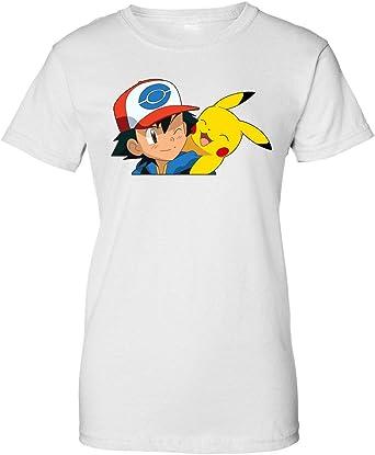 Ash Pikachu Pokemon Anime Camiseta de Mujer: Amazon.es: Ropa y accesorios