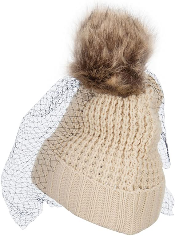 Womens Veiled Winter Beanie Hat Warm Knitted Soft Ski Cuff Cap with Netting Gift for her