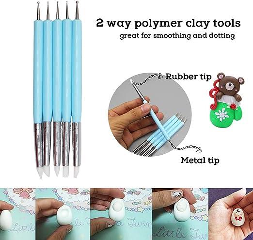 BAISDY 19Pcs Modeling Clay Tools Polymer Clay Tools 4pcs Plastic Pottery Carving Tools 5pcs Dual-Ended Polymer Sculpting Tools 5pcs Mandala Dotting Tools 4pcs Ball Stylus Tools