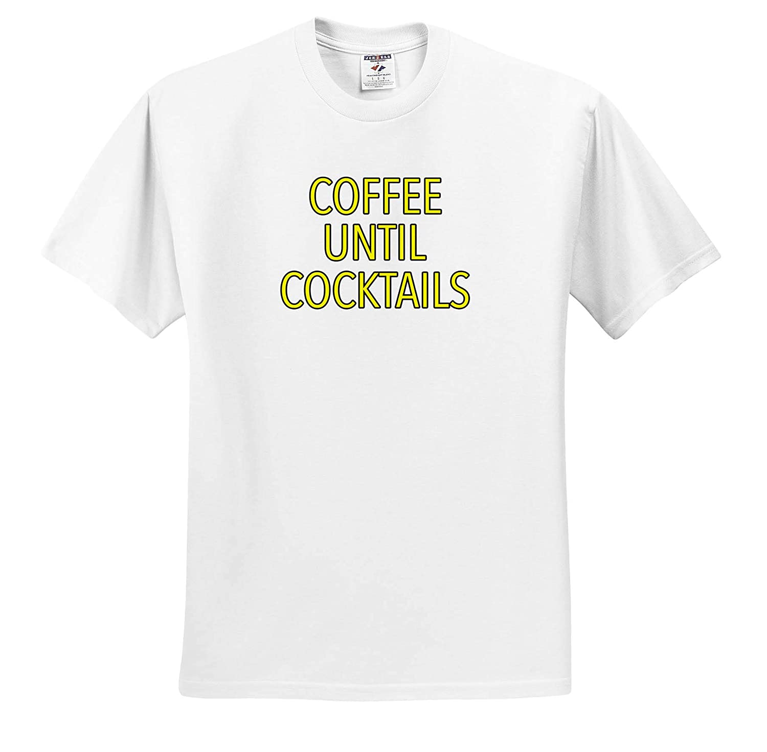 Coffee Until Cocktails Yellow ts/_315541 Funny Sayings Adult T-Shirt XL 3dRose EvaDane