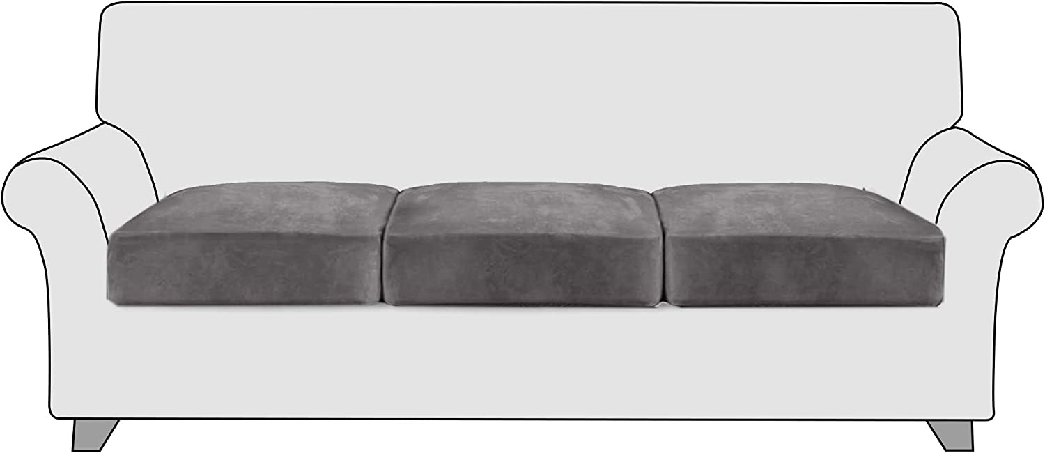 StangH High Stretch Velvet Couch Cushion Covers - Soft Cozy Plush Velvet Fabric Non-Slip Individual Seat Cushion Covers Chair Sofa Cushion Furniture Protector with Elastic Bottom, (3 Packs, Grey)