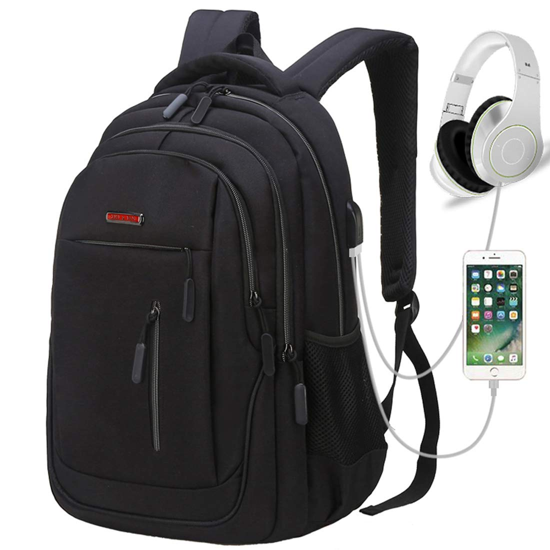 Travel Laptop Backpack, Business Laptop Backpacks with USB Charging Port and Headphone Interface,Water Resistant College School Computer Bag for Women & Men Fits 15.6 Inch Laptop and Notebook (Black)