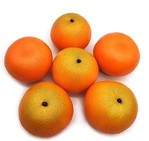 Mefier 6pcs Artificial Fruits Mandarin Oranges Fake Tangerine Faux Oranges for Home Fruit Shop Supermarket Desk Office Restaurant Decorations Or Props