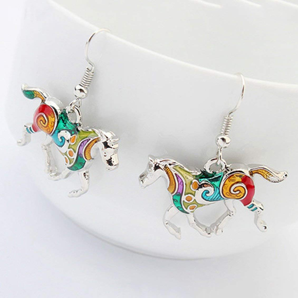Earrings Jewelry Set for Women Girls ForceSthrength Unique Design Rainbow Horse Necklace