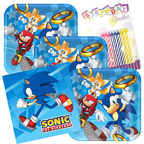 Segas Sonic The Hedgehog Party Plates and Napkins Serves 16 With Birthday Candles -