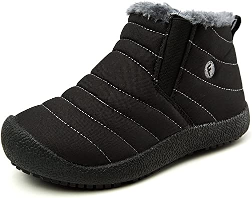 Fashion Kids Boys Ankle Boots Warm Fur-lined Shoes Anti-skid Waterproof Outdoor