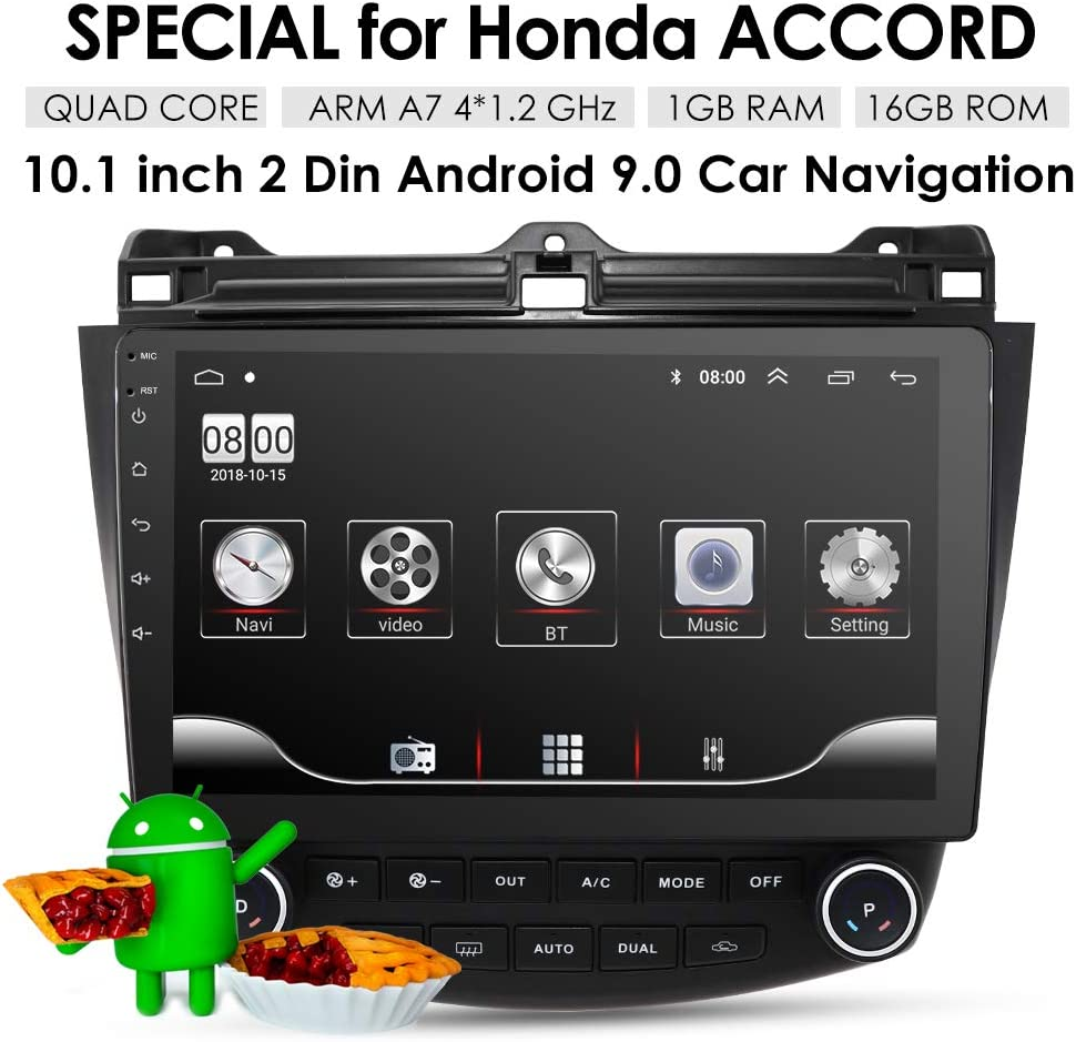 OSSURET 10.1 Inch 16GB Android 9.0 Car Audio GPS Navigation for Honda Accord 7 2003-2007 Head Unit A/C Control 1080P Video Bluetooth Mirror Link