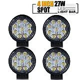 TURBO 4Pcs 4 Inch Round Pods Spot Led Off Road Work Light Headlight Driving Fog Lights Backup Reverse Lamp Bike John Deere Rv Kubota Boat Utv 4 Wheeler Jeep Wrangler 4X4 Trailer Golf Cart Atv