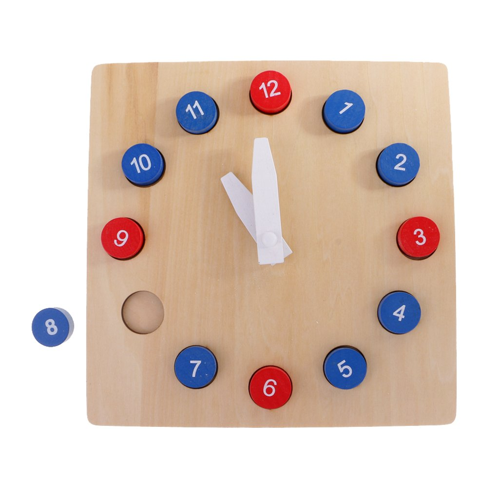 Fityle Kids Wooden Time Teaching Cloth Early Learning Developmental Toy by Fityle (Image #7)