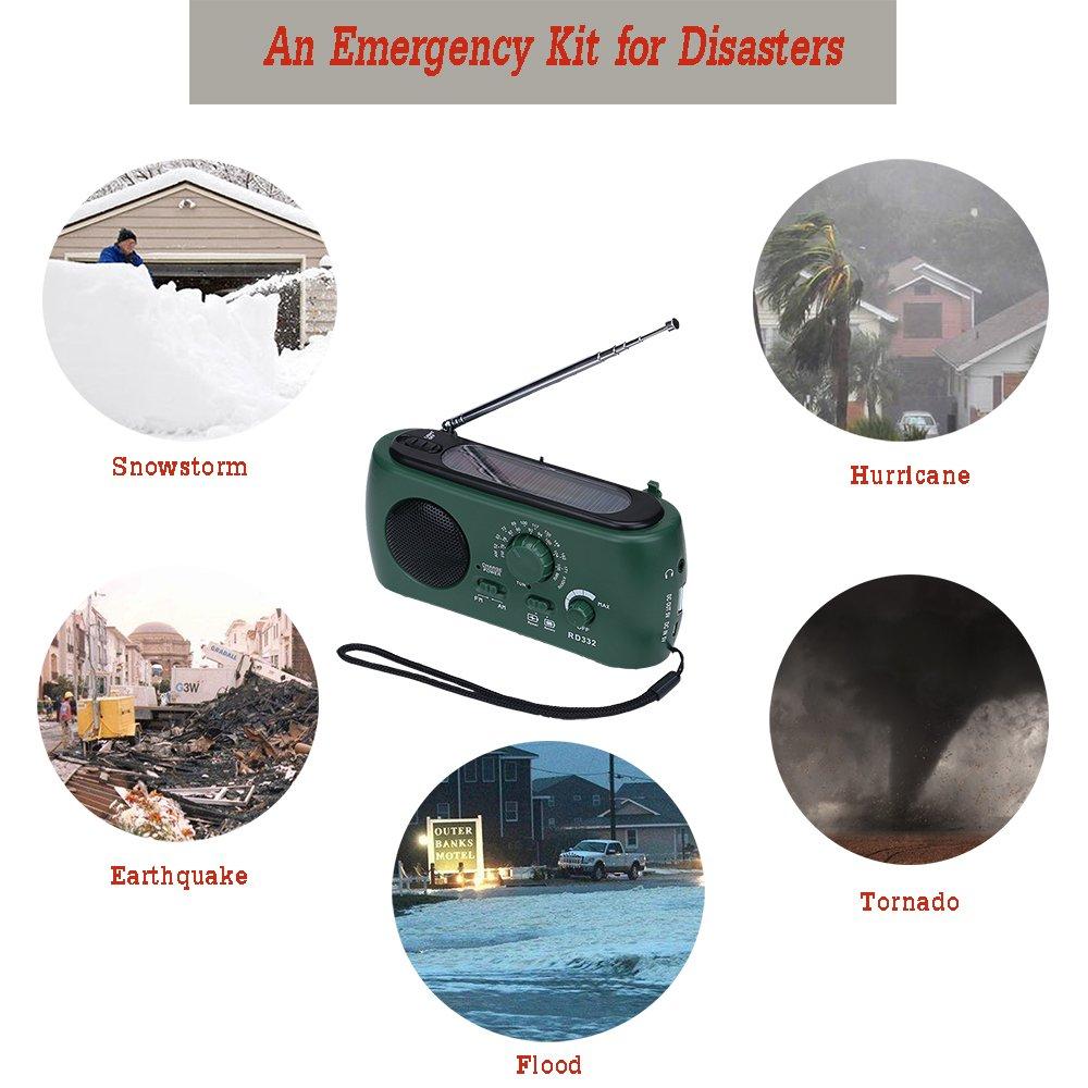 Frostory Solar Dynamo Hand Crank LED Flashlight FM/AM Radio with Emergency Power Bank Survival Kit 332FS (Green) by Frostory (Image #6)