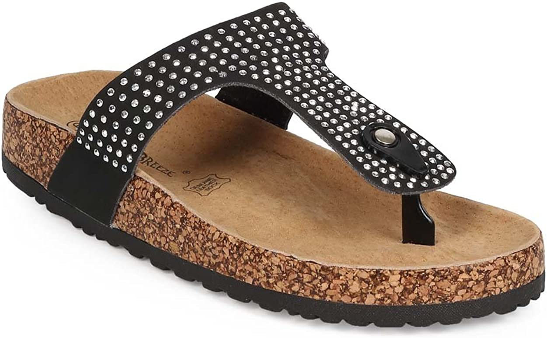 Nature Breeze Women Slip On Thong Studded T-Strap Footbed Sandal EB66 - Black