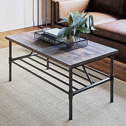 Nathan James 31301 Maxx Industrial Pipe Metal and Rustic Wood Coffee Table 41