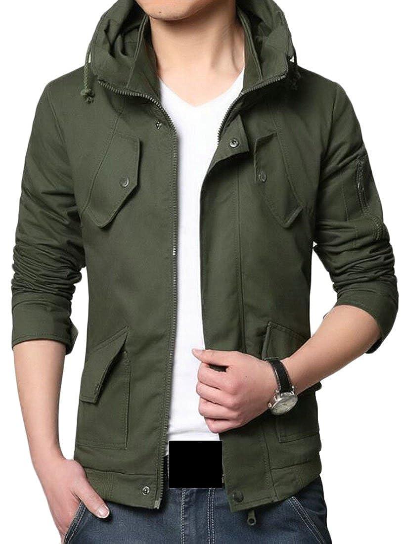 Jaycargogo Mens Fashion Front-Zip Stand Collar Blazer Outwear Jackets