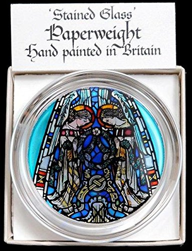 Decorative Hand Painted Stained Glass Paperweight in an Angels Praising Design from Glasgow Cathedral.