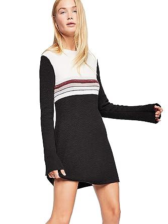 f4e823aff49a Free People Colorblock Mini Sweater Dress (Black Combo) at Amazon ...