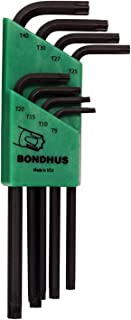 product image for Bondhus 31834 Long Length Star-Tipped L-Wrenches, 8 Piece Set, sizes T9-T40 (2-Pack)