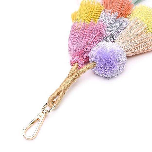 Amazon.com: Colorida llavero hecho a mano con borlas de ...