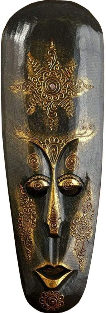 "AEVVV African Mask Aboriginal Style Hand Painted Wooden Mask African Decor Wall Hanging Decor - Hand Chiseled Wood African Style Wall Decor Masks (Dark Gold 20"")"
