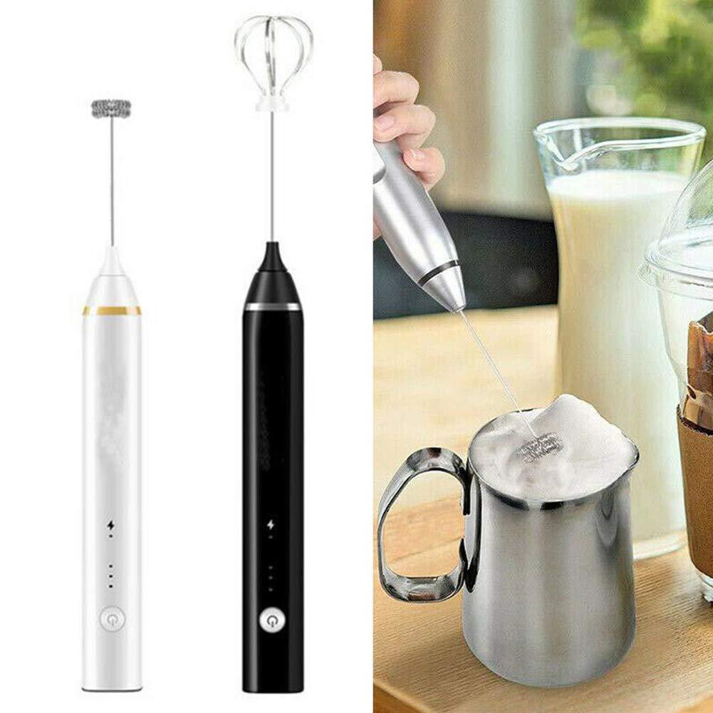 Latte Tama/ño Libre GCDN espumador de Leche USB de Carga el/éctrica de Espuma de Mano con batidor de Acero Inoxidable 3 velocidades para Capuchino Matcha Blanco prote/ína en Polvo caf/é