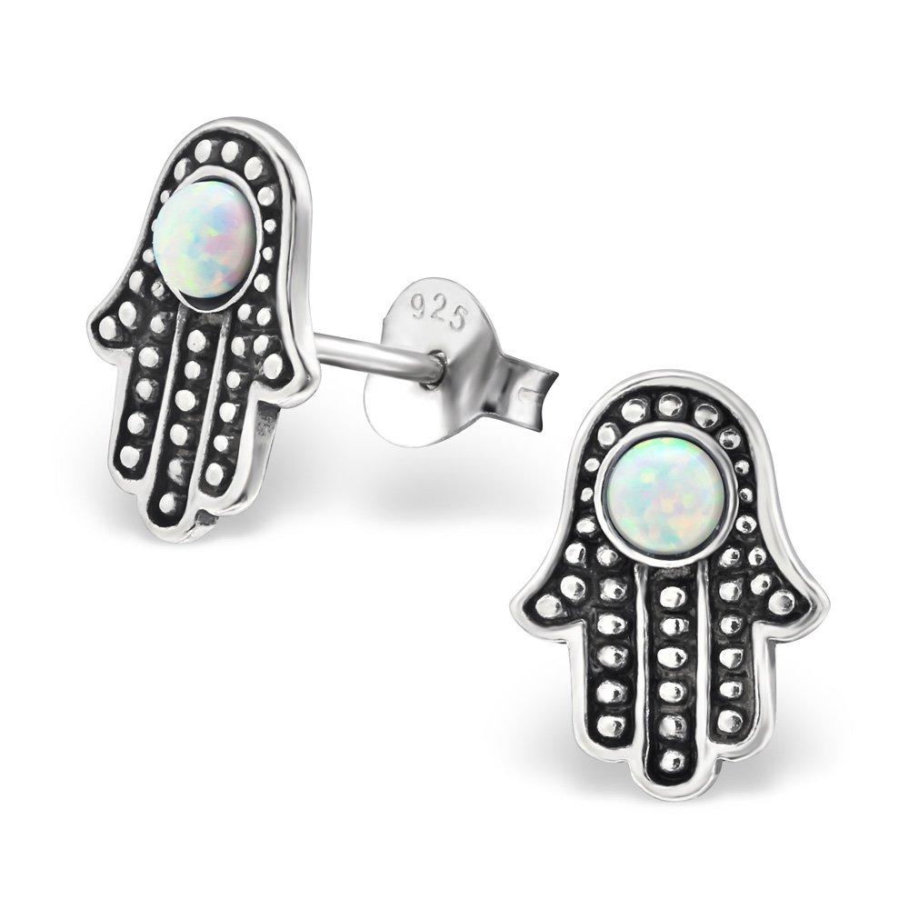 Atik Jewelry Silver Hamsa Ear Studs With Created Opal - Fire Snow