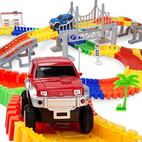 Race Tracks Car Tracks Toys with 192 Pieces Flexible Tracks Set with 2 Vehicles,4 Trees,2 Slopes,1 Hanging Bridge and Traffic Accessories Super Fun,Early Educational Toys for 1 2 3 Year Girls and Boys