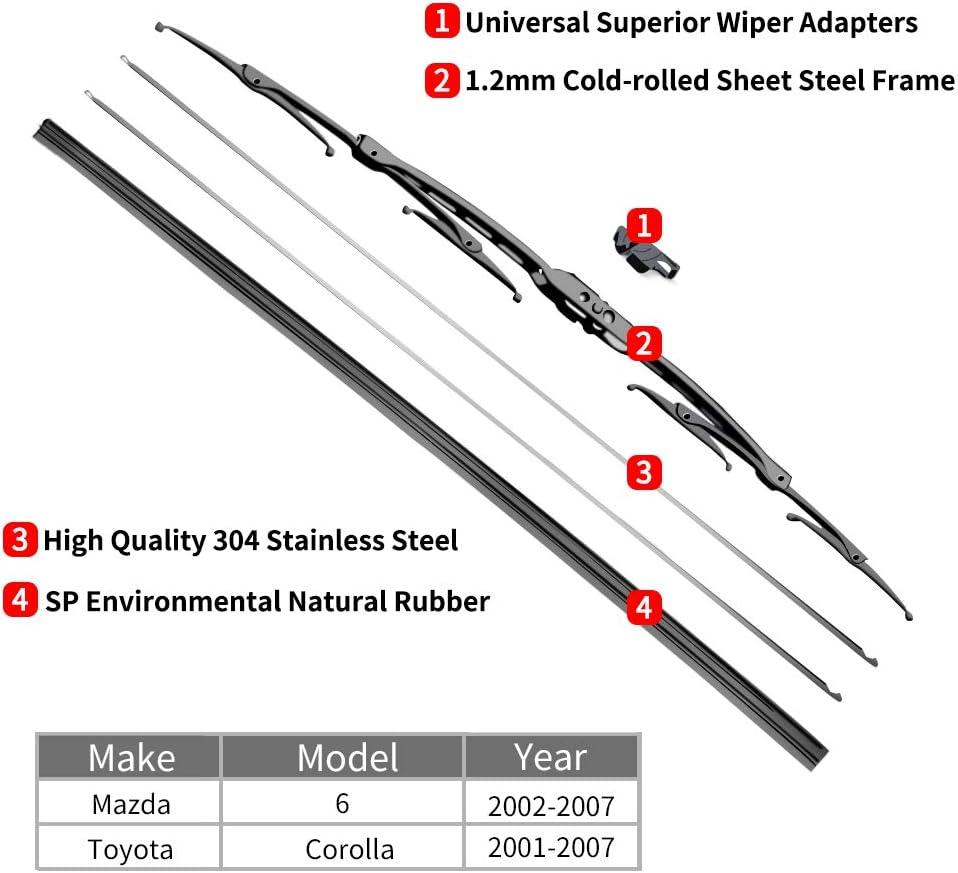 OTUAYAUTO Windshield Wiper Blades 22+19 Front Window Wiper For Corolla Estate 2002-2007