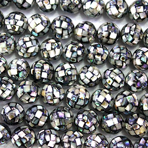 Natural Abalone SEA Shell Mosaic Round Gemstone Loose Beads Jewelry Findings (10mm)