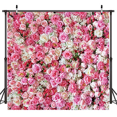 Dudaacvt 8x8ft Happy Birthday Backdrop Wedding Backdrops Pink Red Rose Flowers Photography Backdrop Studio Photographers Background Booth Props D0400808
