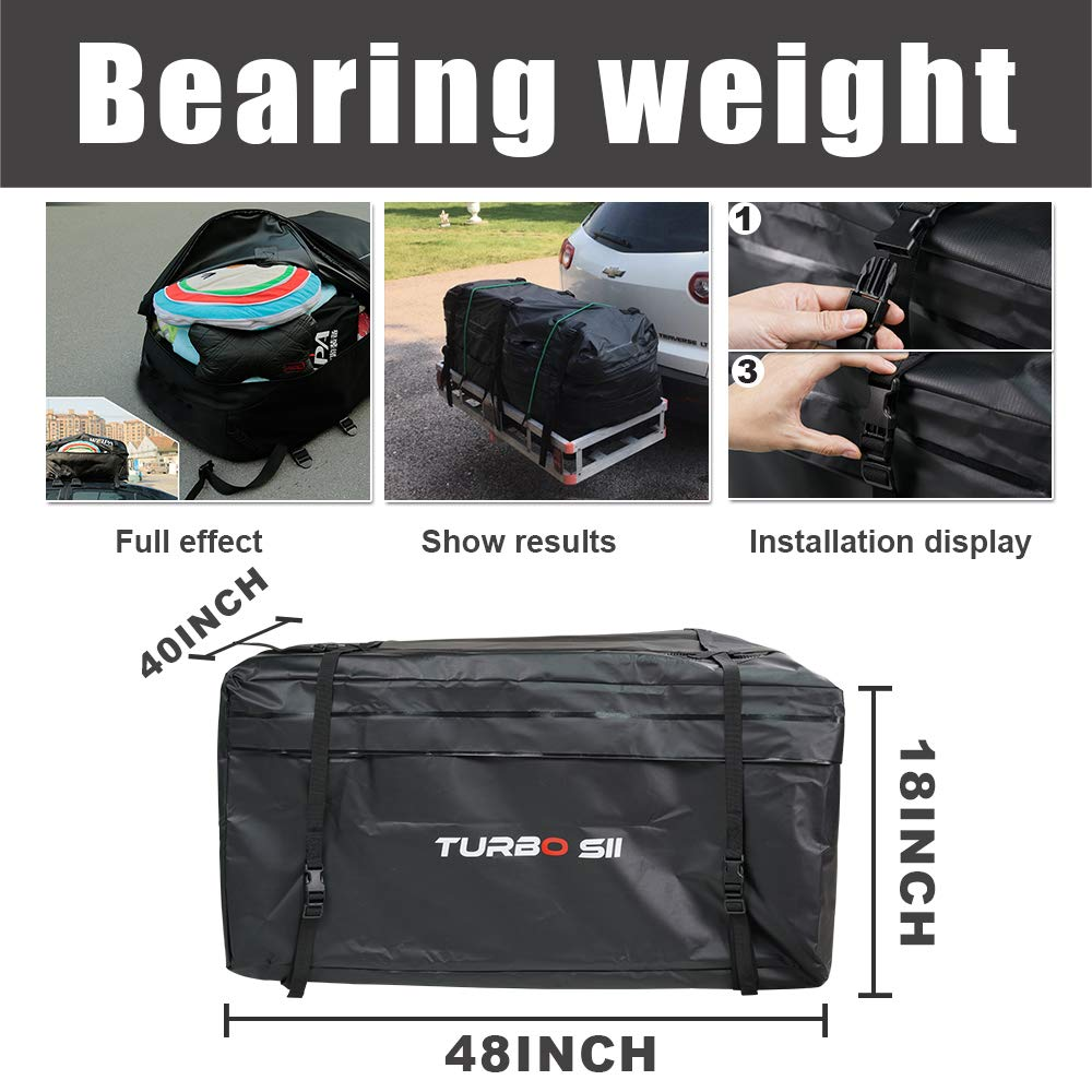 Amazon.com: Car Roof Bag TURBO SII 100% Waterproof Storage Bag Roof Top Cargo Bag Non Slip Roof Mat & Storage bag No Rack Needed Fits All Car Van or SUV (20 ...