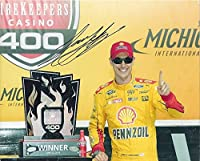 AUTOGRAPHED 2016 Joey Logano #22 Pennzoil Racing MICHIGAN WINNER (Victory Lane Trophy) Team Penske 8X10 Inch Signed Picture NASCAR Glossy Photo with COA by Trackside Autographs