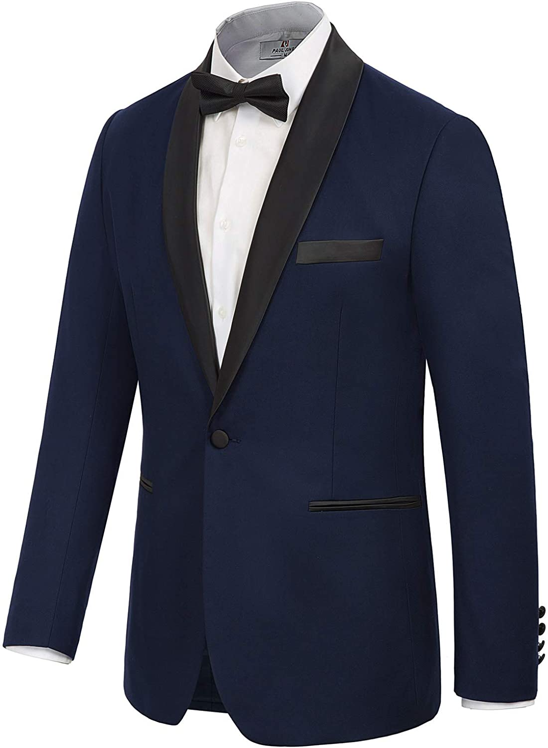 PAUL JONES Men's Prom Tuxedo Jacket Satin Shawl Lapel Slim Fit Blazer Suit