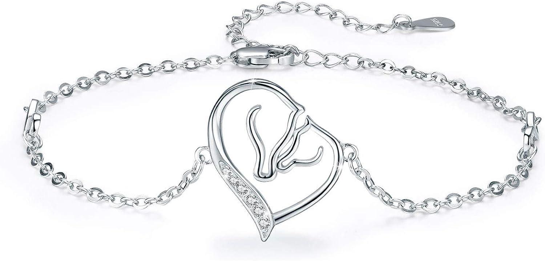 Collar con colgante de caballo para mujer, collar de corazón de niña y caballo, plata de ley 925, collar de lobo con unicornio, regalo para mujeres, cadena de 46 cm, caja de regalo