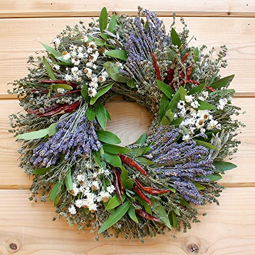 Lavender, Chili and Herb Natural Dried and Preserved Wreath - 16