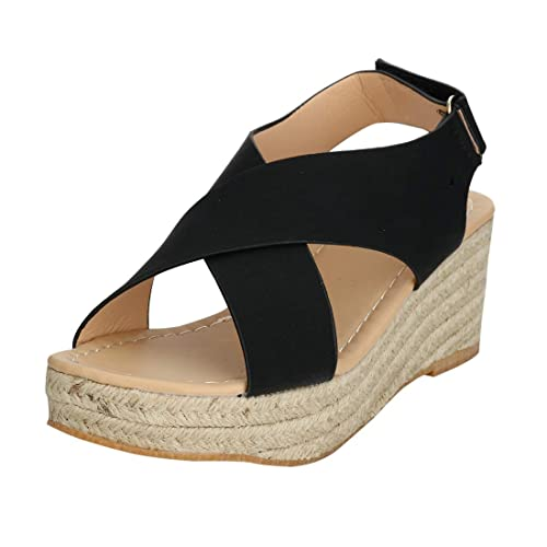 00bf024dc91 EROUGE Women Espadrille Sandal Platform Sandals Crisscross Slingback  Elastic Band Shoes Wedge Sandal