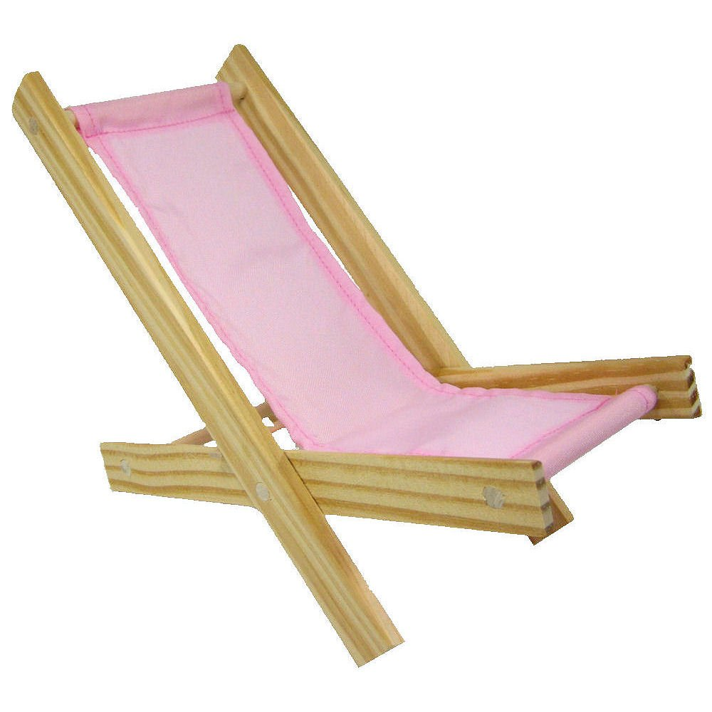 Wooden Toy Folding Lawn Chair with Light Pink Fabric