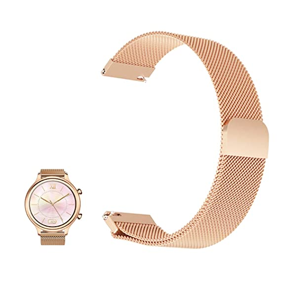 for Ticwatch C2 Rose Gold Band, FRGNIE Milanese Stainless Steel Fully Magnetic Closure Mesh Replacement Strap for Ticwatch C2 Woman Smartwatch (Rose ...