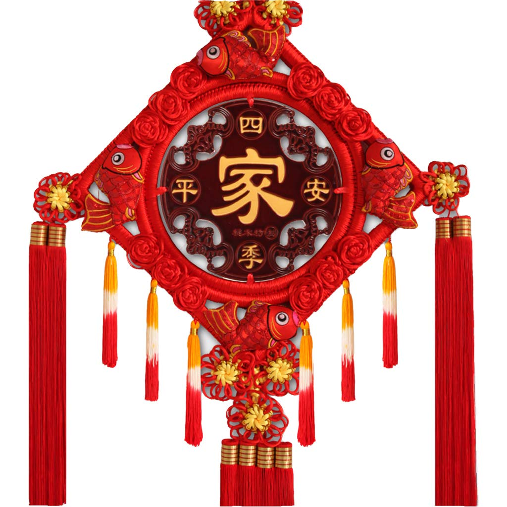 CFJKN Chinese Knot Traditional Ornamental, Chinese New Year Decoration Fu Spring Festival Knot Tassel Red Handcraft Knitted Hanging Wedding Home Car Style,red_125x58cm