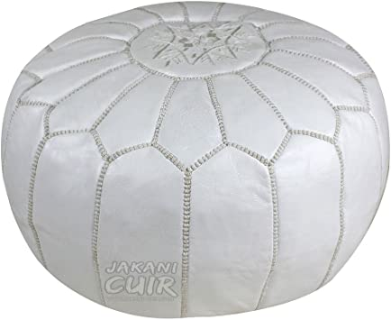 Pouf Moroccan Hassock Pooff Leather Genuine Pouff Ottoman Footstool Large White