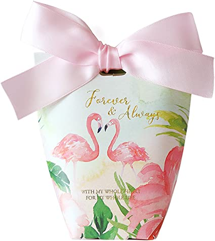 Wedding Favor Boxes Flamingo Pattern Candy Chocolate Gifts Box Bags Party Favors