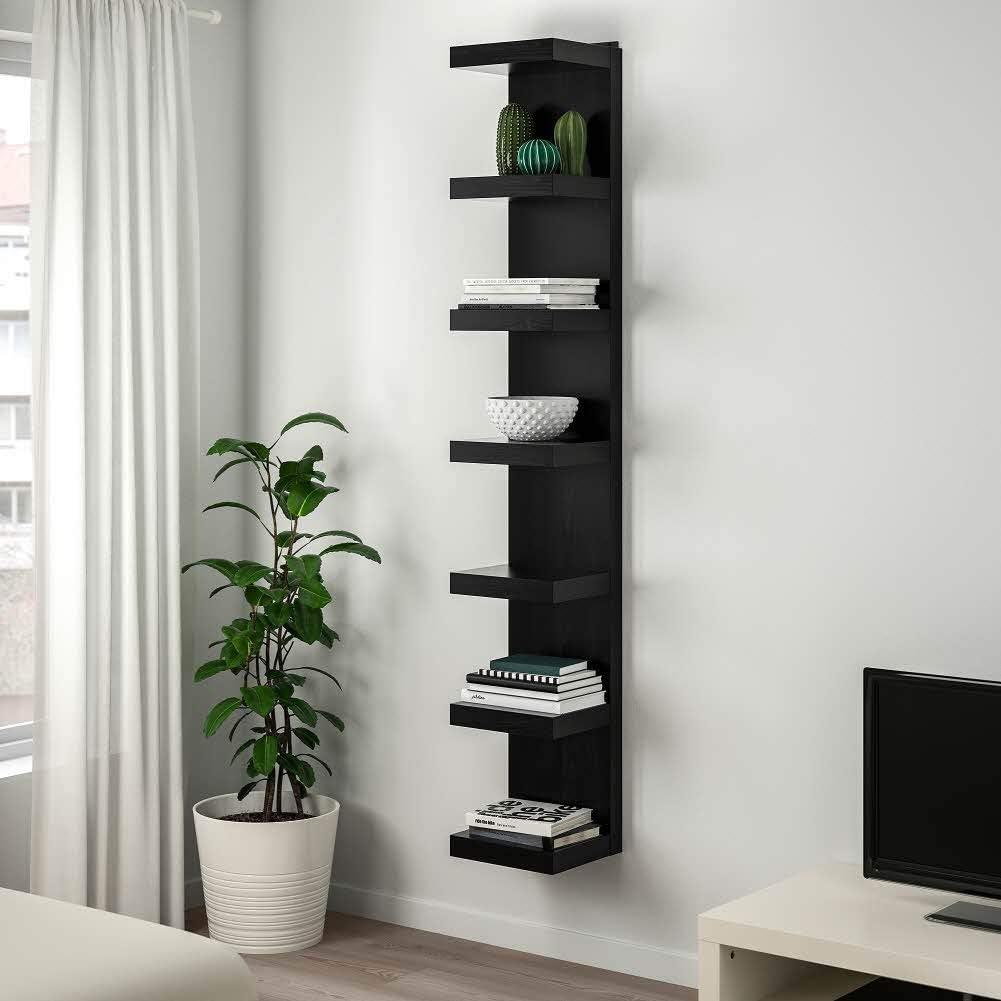 Ikea Wandregal Asia Lack Schwarz Braun 30x190cm Amazon De