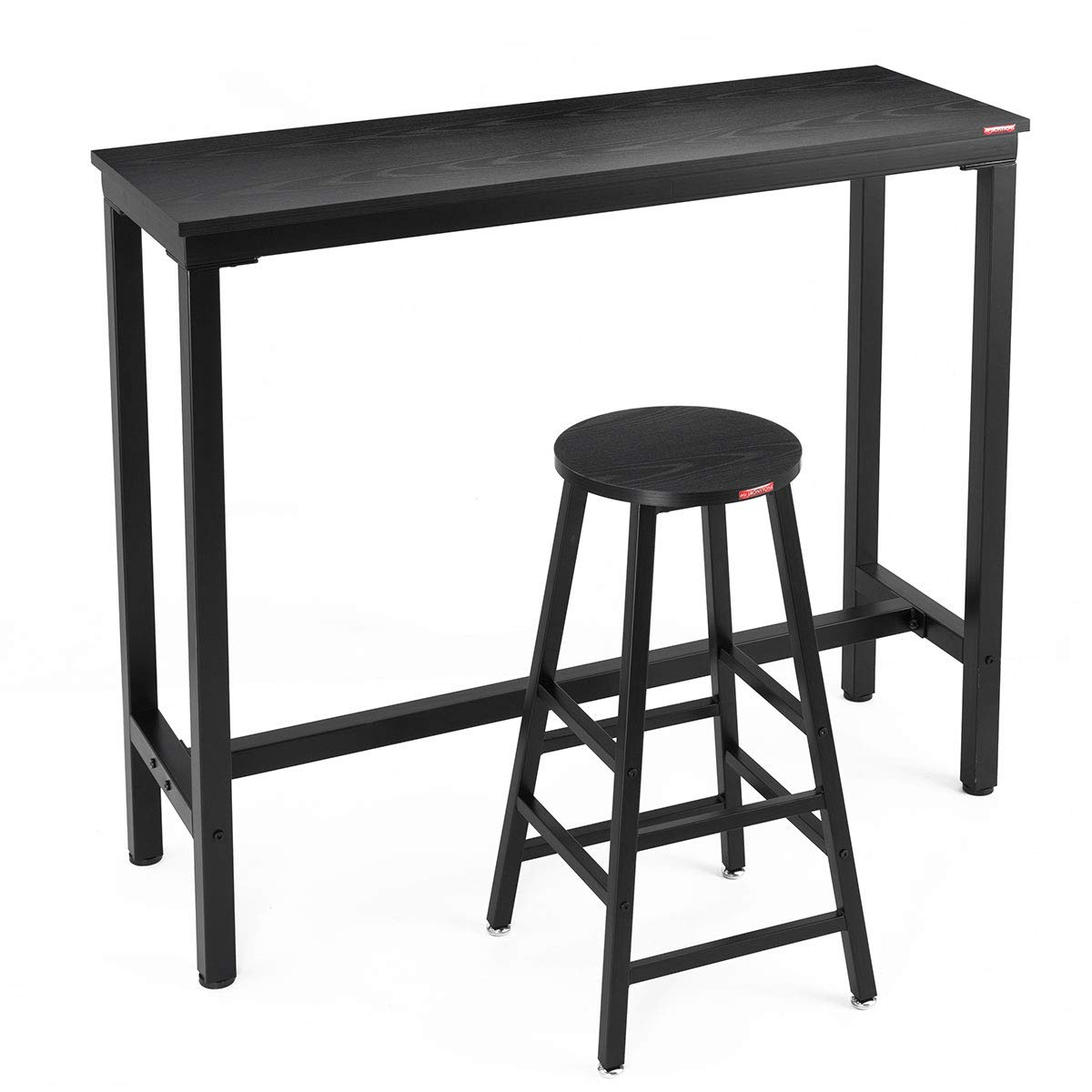 Mr IRONSTONE 2-Piece Bar Table Set, 47'' Pub Dining Height Table Bistro Table with 1 Bar Stool Black Textured Top (Indoor USE ONLY) by Mr IRONSTONE