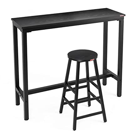 Surprising Mr Ironstone 2 Piece Bar Table Set 47 Pub Dining Height Table Bistro Table With 1 Bar Stool Black Textured Top Indoor Use Only Beutiful Home Inspiration Semekurdistantinfo