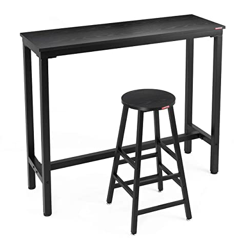 Enjoyable Mr Ironstone 2 Piece Bar Table Set 47 Pub Dining Height Table Bistro Table With 1 Bar Stool Black Textured Top Indoor Use Only Inzonedesignstudio Interior Chair Design Inzonedesignstudiocom